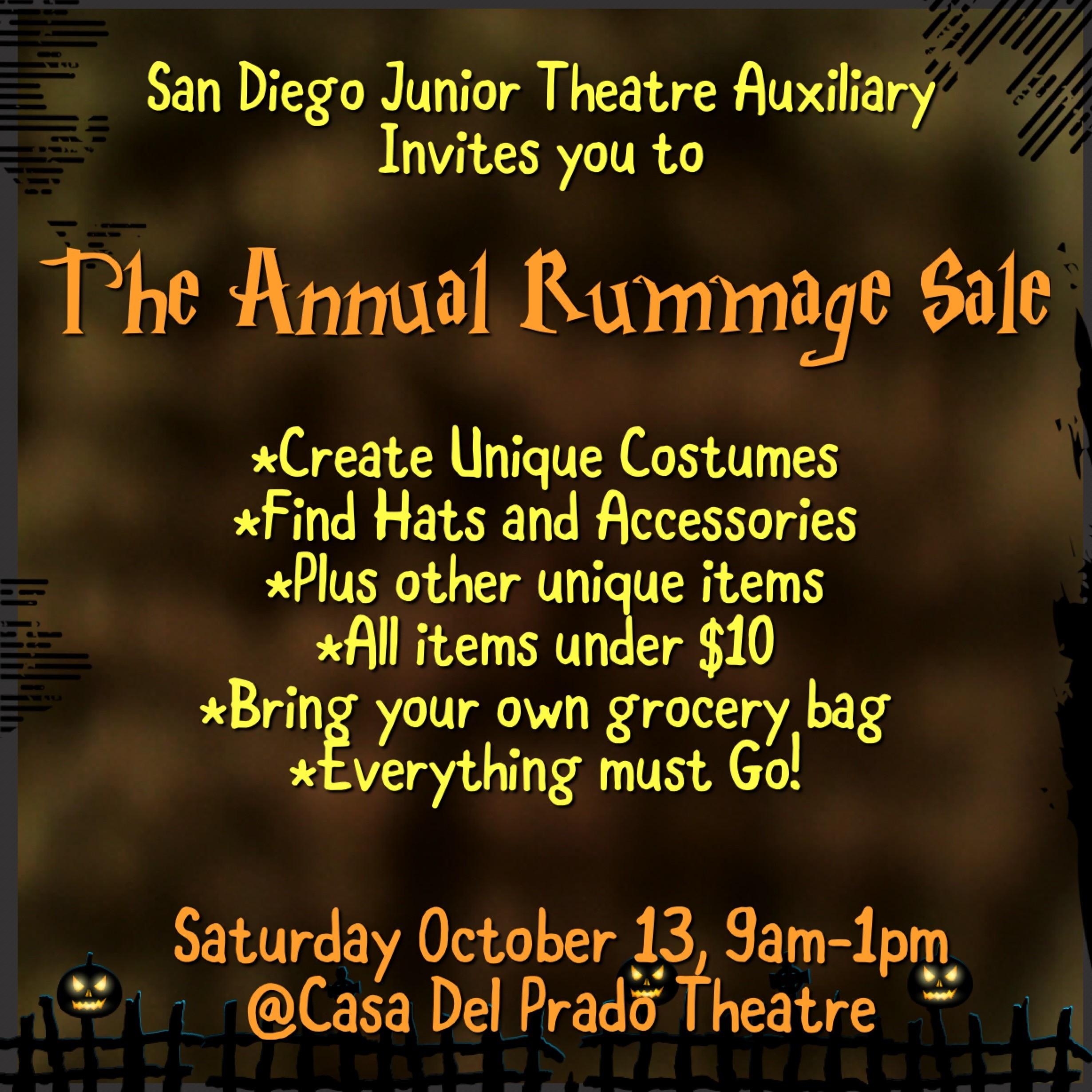 Junior Theatre Auxiliary Annual Rummage Sale, October 13th!